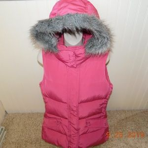Talbots Pink puffer vest with detachable hood S